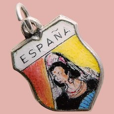 800 Silver & Enamel SPAIN España Estate Charm - Travel Shield Souvenir