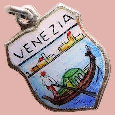 800 Silver & Enamel VENICE Venezia Charm - Souvenir of Italy - Travel Shield