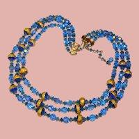 Fabulous BLUE AURORA CRYSTAL 3 Strand Foil Glass Vintage Estate Necklace