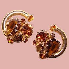 Fabulous TOPAZ BROWN Glass & Rhinestone Vintage Clip Earrings