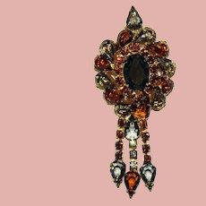 Fabulous Topaz Brown & Smoke Vintage Rhinestone Dangle Brooch - Open Backed Stones