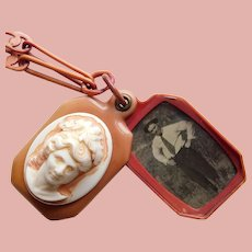 Fabulous ART DECO Dimensional Celluloid Cameo Slide Locket Necklace - With Cut Out Celluloid Paperclip Chain