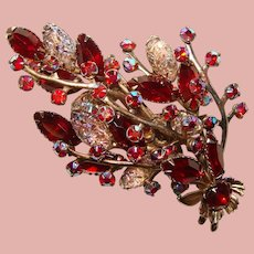 Fabulous Large RED Carnival Vintage Rhinestone Brooch