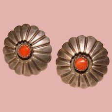 Fabulous STERLING & CORAL Stones Vintage Earrings