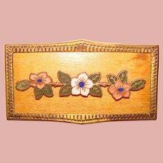 Gorgeous ENAMEL FLOWERS on Wood Vintage Brooch