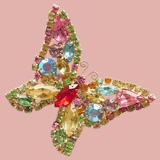 Fabulous WEISS Signed Butterfly Pastel Rhinestone Vintage Brooch - Spring & Summer Colors