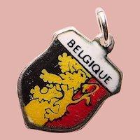 800 Silver & Enamel BELGIUM Belgique Charm - Souvenir of Europe - Travel Shield