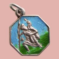 800 Silver & Enamel ST CHRISTOPHER Vintage Charm