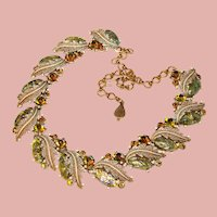 Fabulous GREEN FOIL GLASS Aurora Rhinestones Vintage Necklace