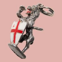 Sterling & Enamel RAMPANT LION Vintage Charm - English