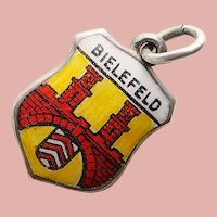830 Silver & Enamel BIELEFELD Charm - Souvenir of Germany - Travel Shield