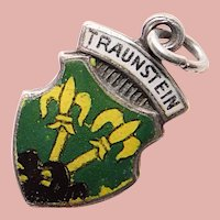 835 Silver & Enamel TRAUNSTEIN Mini Charm - Souvenir of Germany - Travel Shield