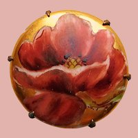 Antique Hand Painted Porcelain Poppy Flower Brooch - Handpainted