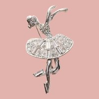 Awesome BALLERINA or Ice Skater Rhinestone Brooch - Ballet Dancer