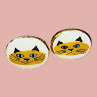 Mid Century VICTORIA FLEMMING Cat Face Signed Cufflinks