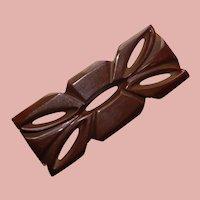 Fabulous CARVED BAKELITE Brown Vintage Brooch - Carved & Pierced