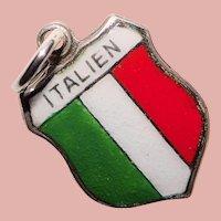 800 Silver & Enamel ITALY Italien Vintage Charm - Souvenir Travel Shield