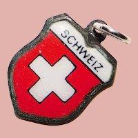 800 Silver & Enamel SWITZERLAND Charm - Souvenir Travel Shield