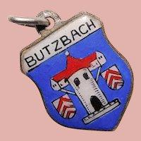 800 Silver & Enamel BUTZBACH Charm - Souvenir of Germany - Travel Shield