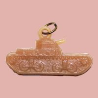 Vintage Celluloid TANK Estate Charm - Military Sweetheart
