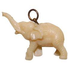 Vintage Celluloid ELEPHANT Estate Charm - Lucky Trunk Up
