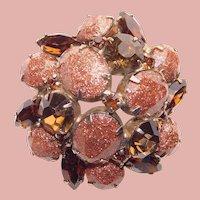 Fabulous GOLD GLITTER LUCITE & Rhinestone Domed Brooch - Confetti Lucite