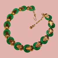 Fabulous TRIFARI Green Color Stones Vintage Necklace