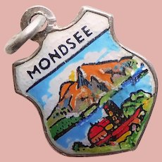 800 Silver & Enamel MONDSEE Charm - Souvenir of Austria - Travel Shield