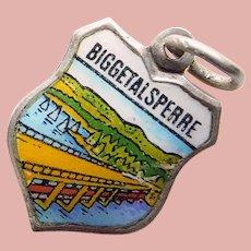 800 Silver & Enamel BIGGESSEE RESERVOIR Biggetalsperre Charm - Souvenir of Germany - Travel Shield