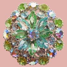 Fabulous WEISS Signed Green Aqua Aurora Rhinestone Brooch