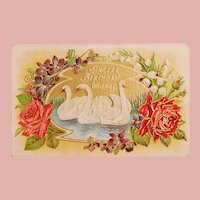 Art Deco Era Swans Birds Birthday Postcard