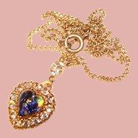 Fabulous FOIL GLASS Rhinestone Vintage Heart Pendant Necklace