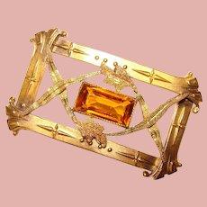 Fabulous Antique Amber Glass Stone Ornate Sash Pin Brooch