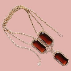 Fabulous Brown & Clear Rhinestone Vintage Necklace - Autumn Fall Color