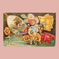 Antique HAPPY BIRTHDAY with Wishbone & Pansy Flowers Postcard - Circa 1908