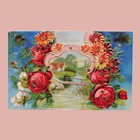 Antique BEST WISHES with Country Scene & Flowers Postcard - Printed in Germany