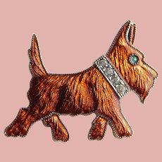 Art Deco DOG Scotty Terrier Enamel Brooch - Rhinestone Collar Scottie Adorable!