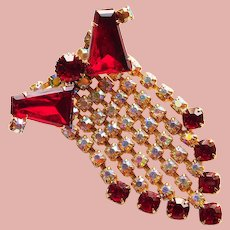Fabulous Red Tapered Baguette & Aurora Rhinestone Dangle Brooch