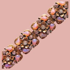 Fabulous PINK OPALESCENT Glass Stones & Rhinestones Vintage Bracelet