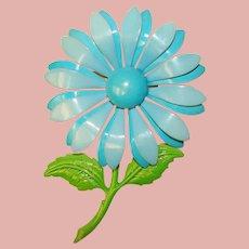 Gorgeous FLOWER POWER 1960s Blue Flower Vintage Brooch