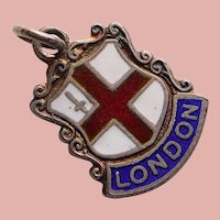 Sterling & Enamel LONDON Charm - Souvenir of England Great Britain - Travel Shield