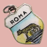 800 Silver & Enamel ROME Roma Remus & Romulus Charm - Souvenir of Italy - Travel Shield