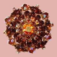 Fabulous TOPAZ BROWN Aurora Rhinestone Vintage Brooch
