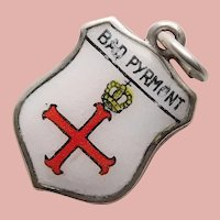 830 Silver & Enamel BAD PYRMONT Charm - Souvenir of Germany - Travel Shield
