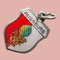 835 Silver & Enamel AUGSBURG Charm - Souvenir of Germany - Travel Shield