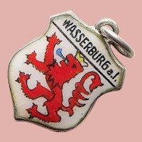 835 Silver & Enamel WASSERBURG AM INN Charm - Souvenir of Germany - Travel Shield