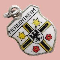 800 Silver & Enamel MERGENTHEIM Charm - Souvenir of Germany - Travel Shield