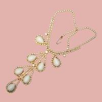 Fabulous WHITE RHINESTONE High Dome Stones Vintage Necklace