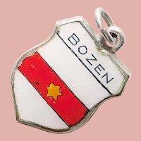 800 Silver & Enamel BOLZANO Bozen Charm - Souvenir of Italy - Travel Shield