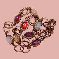 Fabulous FOIL GLASS Opal Dragon's Breath Fancy Link Necklace